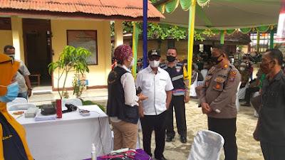 Sambut HUT Bhayangkara ke-75, Wakil Bupati Simalungun Tinjau Vaksinasi di Serbelawan