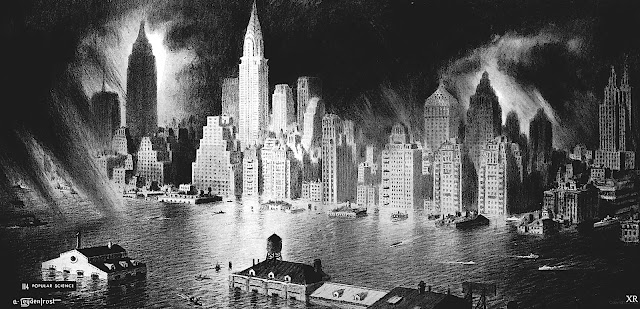 an Alexander Leydenfrost illustration of a flooded big city