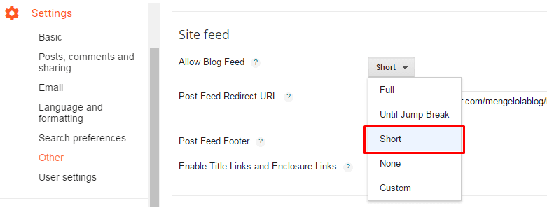 setting blog feed menjadi short