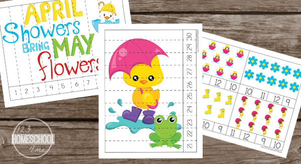 counting spring activity for preschool, kindergarten
