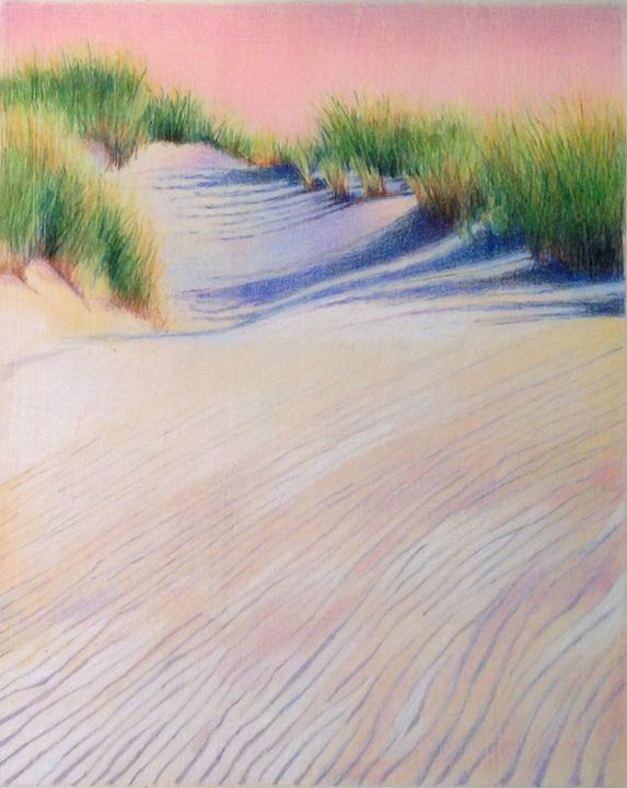 KJF DESIGN: Beach Dunes in Colored Pencil