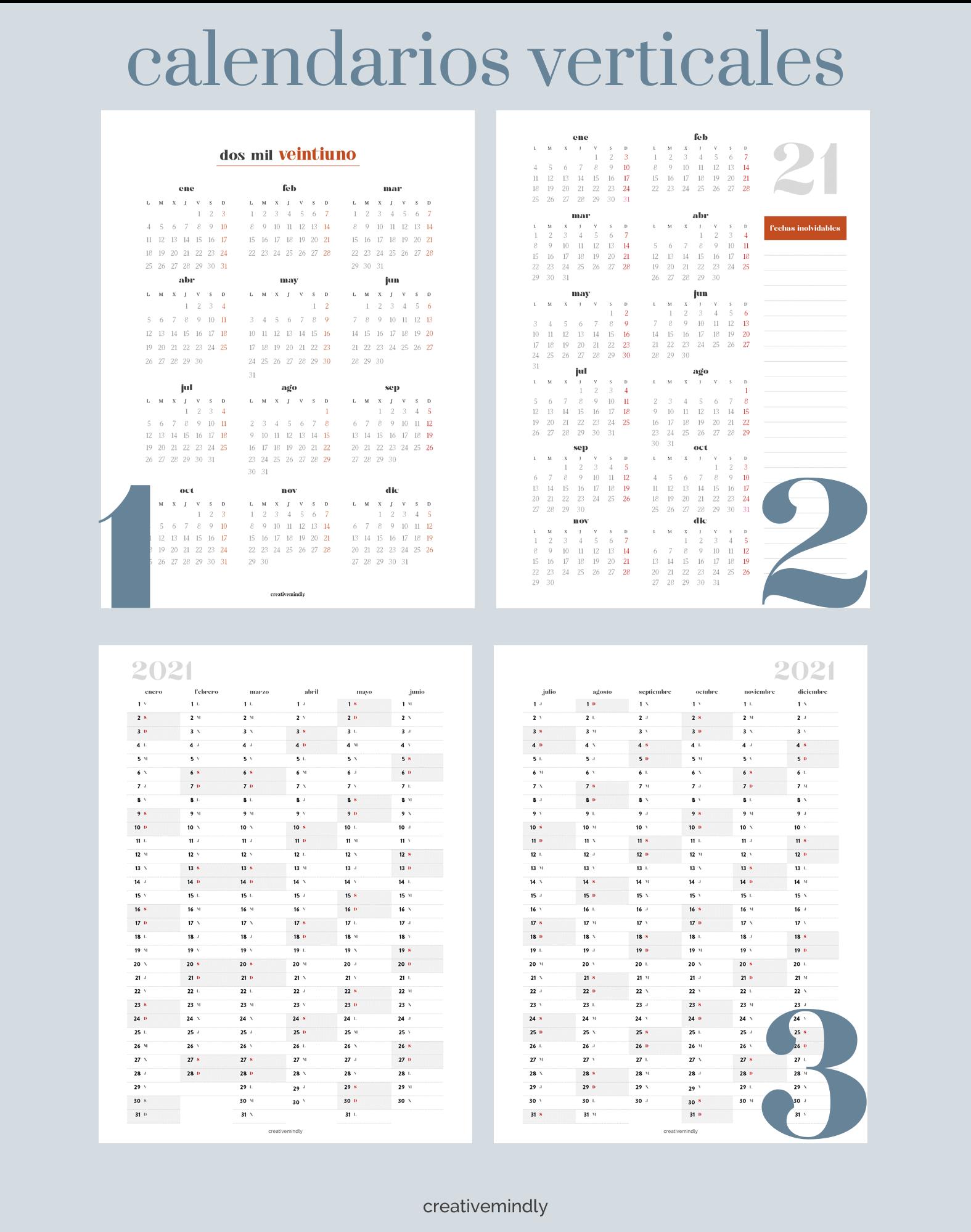 calendario imprimible gratis 2021