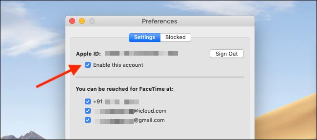 """قم بإلغاء تحديد الزر """"تمكين هذا الحساب"""" في تفضيلات FaceTime لتعطيل FaceTime على جهاز Mac"""