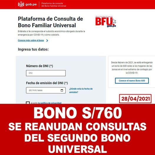 Bono Familiar De S/760: Continuará El Pago Para Los Beneficiarios