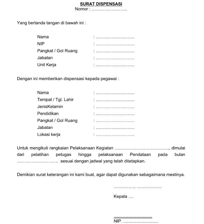Contoh Surat Dispensasi Organisasi