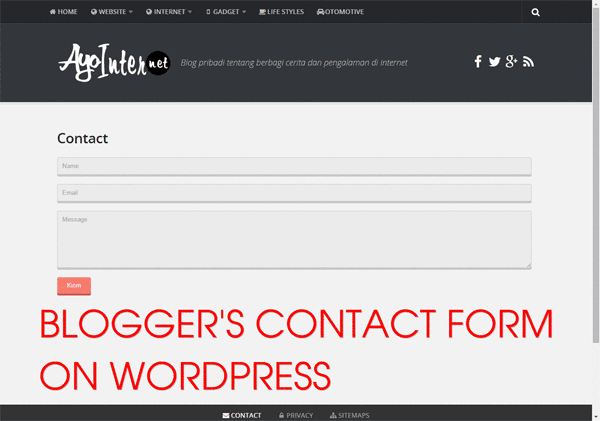 Memasang Contact Form Blogger Di Wordpress