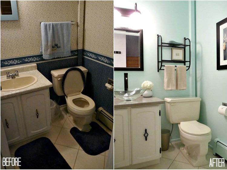 Budget friendly half bath makeover with aqua walls dans - Half bath ideas on a budget ...