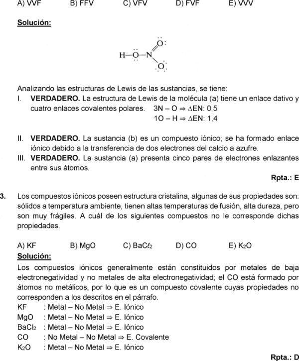 Enlace Quimico Y Fuerzas Intermoleculares Ejercicios