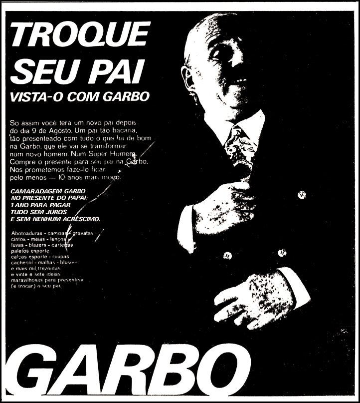 Propaganda antiga da Lojas Garbo para o Dia dos Pais em 1970