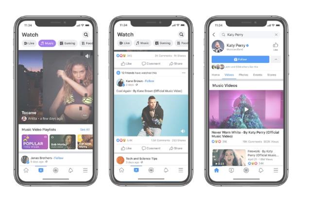يجلب فيسبوك مقاطع الفيديو الموسيقية الرسمية إلى التطبيق