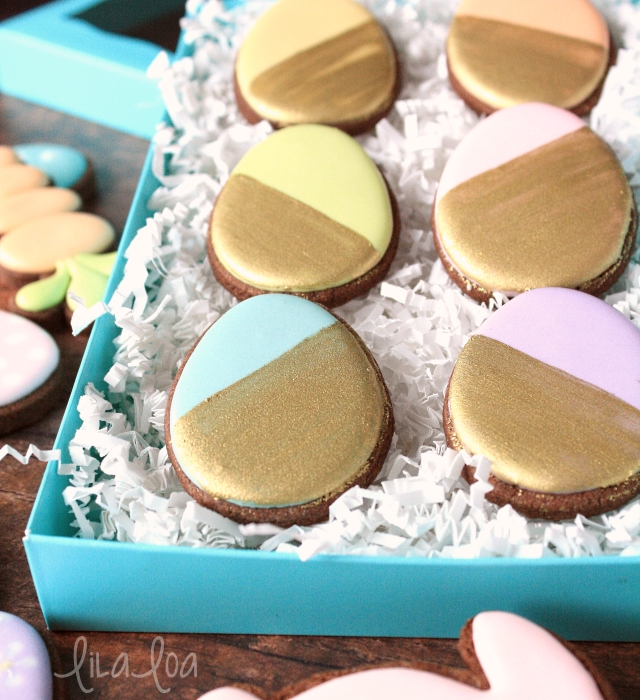 Gold dipped Easter Egg cookies!