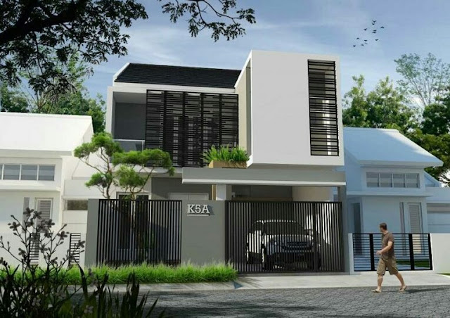 2-storey house with minimalist iron fence