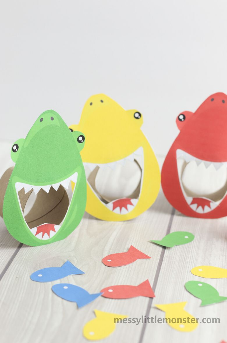 shark colour matching game summer activities for preschoolers