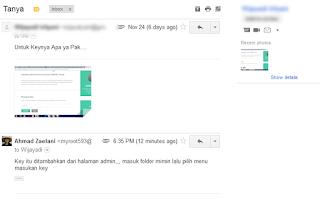 email pertanyaan tentang aplikasi