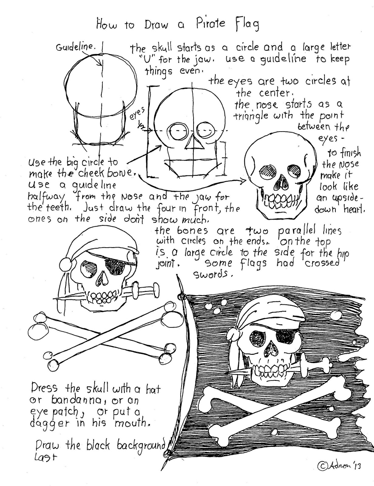How to draw worksheets for the young artist how to draw a pirate how to draw a pirate flag worksheet robcynllc Choice Image