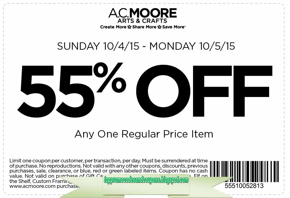 graphic regarding Ac Moore Coupon Printable referred to as Totally free Promo Codes and Discount codes 2019: AC Moore Coupon codes