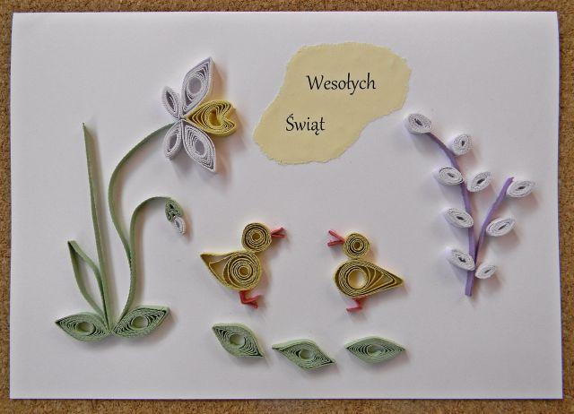 kartka, święta, quilling, bazie, kwiaty