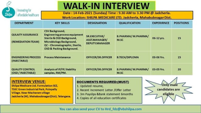 Shilpa Medicare   Walk-in interview for QC/QA/Engg on 14th Feb 2021