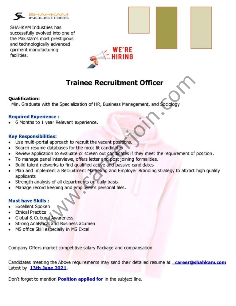 career@shahkam.com - Shahkam Industries Pvt Ltd Jobs 2021 in Pakistan