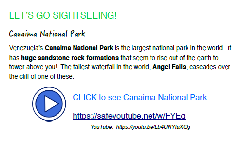 Facts re: Canaima National Park and Youtube link