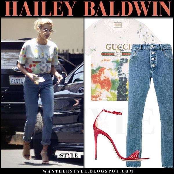 Hailey Baldwin in white gucci logo tie dye t-shirt and button jeans balenciaga what she wore june 2 2017 street fashion