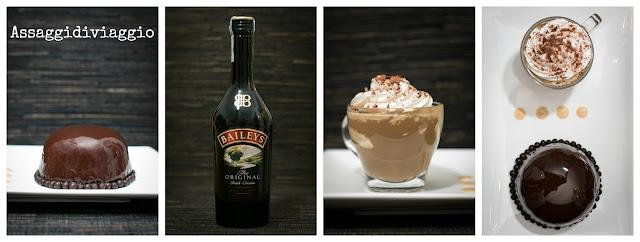 Cupoletta di bavarese al Baileys con cuore fondente al caffè e glassa al cioccolato ed Irish coffee