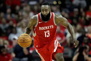 James Harden red jersey