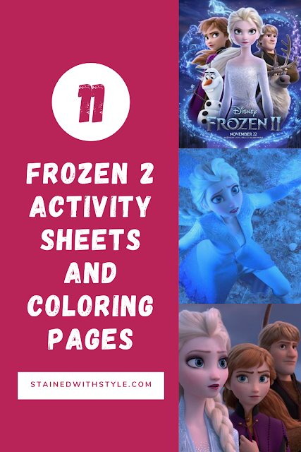 pinterest image for frozen 2 activity sheets and coloring sheets
