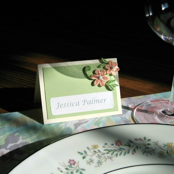 quilled floral place card on table setting
