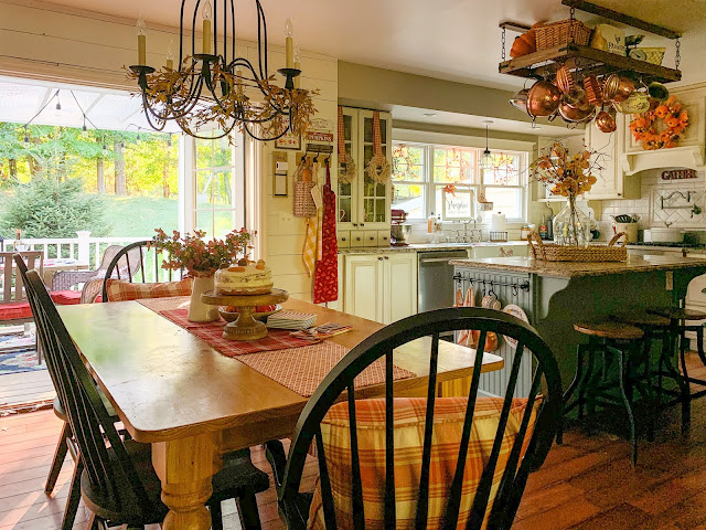 Farmhouse kitchen with fall decor and farmhouse sink - www.goldenboysandme.com