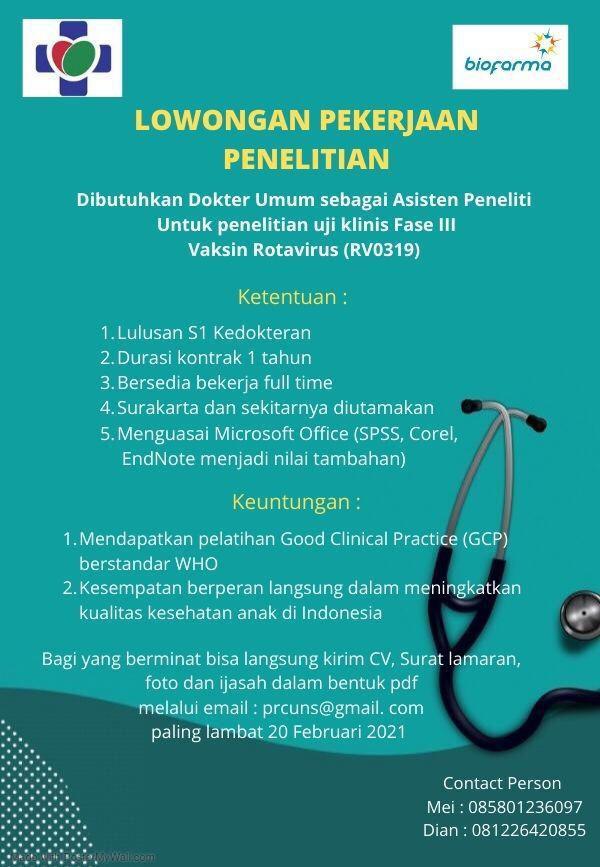Loker Dokter Umum- Dibutuhkan Dokter Umum sebagai Asisten Peneliti Uji Klinis Fase III Vaksin Rotavirus (RV0319)