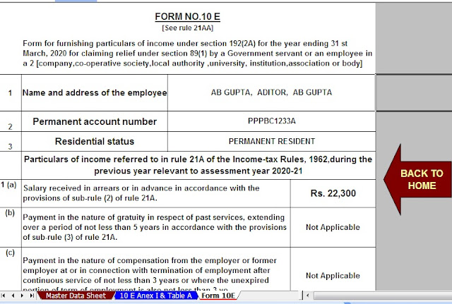 Download Automated Income Tax Arrears Relief Calculator U/s 89(1) with Form 10E from Financial Year 2000-01 to Financial Year 2019-20 & Ass Year 2020-21 5