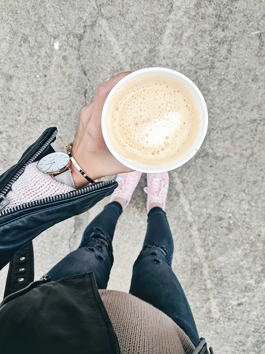 leather jacket and ripped jeans outfit, pumpkin spice latte fall fashion