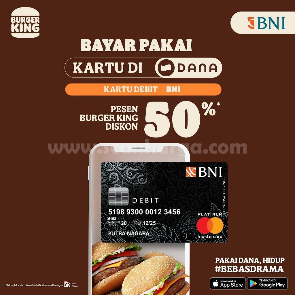 Promo Burger King Diskon 50% pakai Kartu Debit BNI di Aplikasi DANA