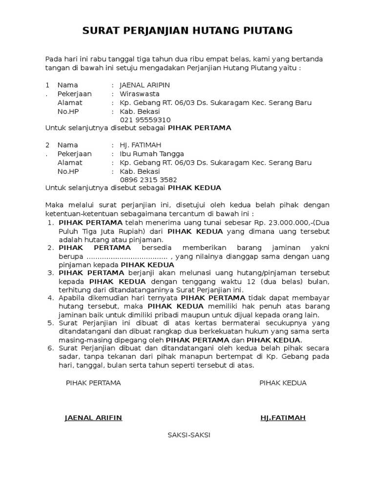 Contoh Surat Pernyataan Hutang Piutang Doc