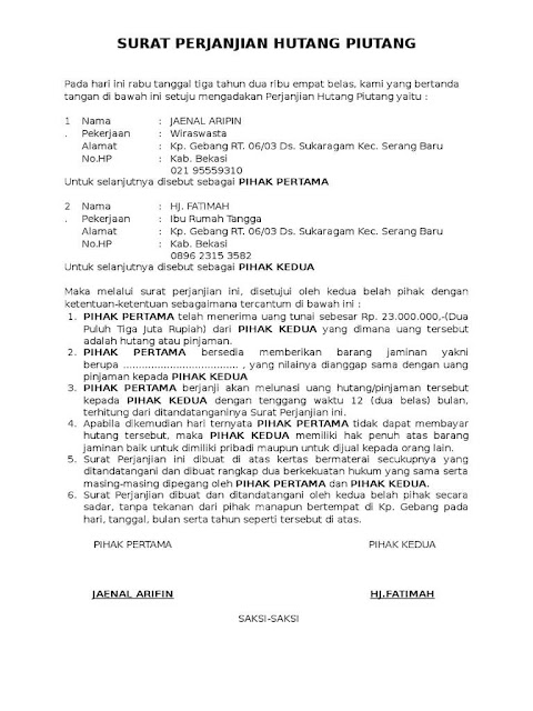Contoh Surat Perjanjian Hutang dengan Jaminan - Assalam Print