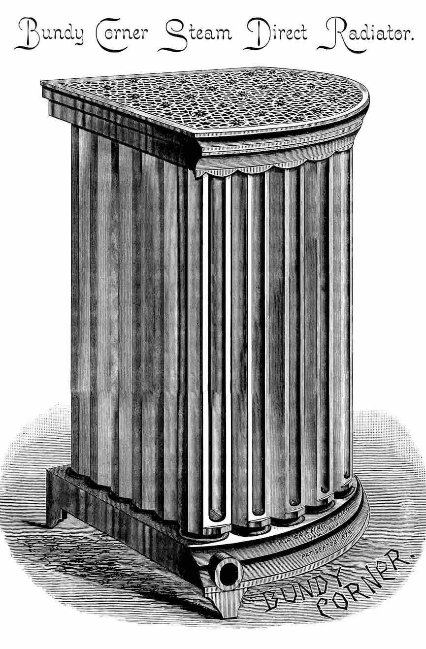 Bundy Corner Steam Radiator 1891, an illustration