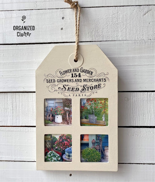 Photo of finished tag collage frame with flower garden photos