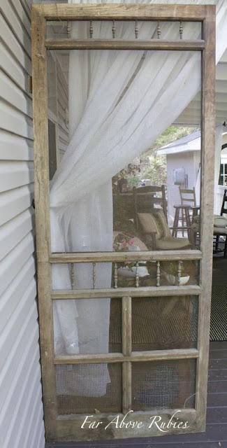 Far Above Rubies Repurposing A Screen Door As A Porch Divider