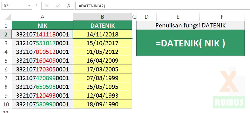 Fungsi Excel DATENIK