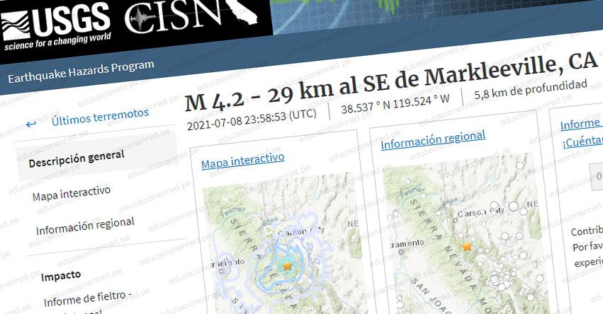 TEMBLOR EN ESTADOS UNIDOS: Sismo de Magnitud 4.2 (Hoy Jueves 8 Julio 2021) Epicentro - California - Markleeville - EEUU - USGS