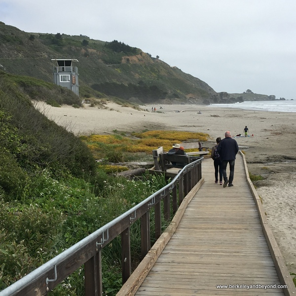 boardwalk down to the sand at Stinson Beach, California
