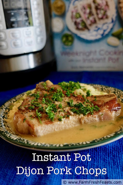 Tender pork chops in a creamy Dijon sauce are ready in minutes using the Instant Pot pressure cooker. Four simple ingredients for the sauce, six minutes cook time under pressure, and an easy weeknight dinner is done!