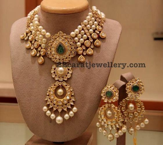 polki pearls necklace chandbalis jewellery designs