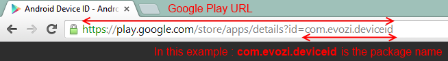 Google Play Store URL and Pakcage Name