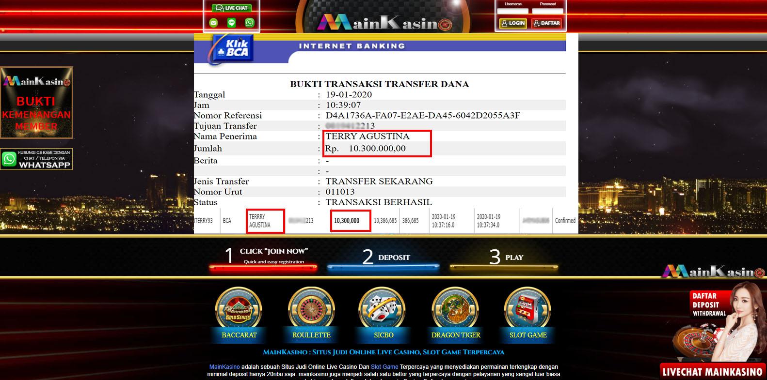 Selamat Kepada Member Setia MAIN KASINO Withdraw RP  10.300.000