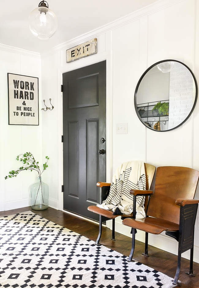 high contrast vintage modern mudroom