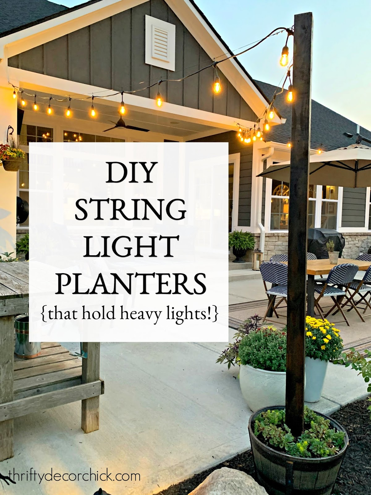 DIY cafe lights in cement planters