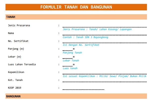 Form Sarana Prasarana di Aplikasi Dapodikdasmen 2020