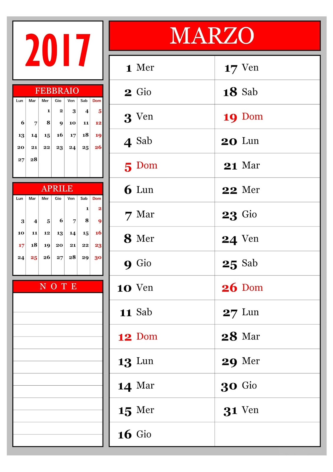 Marzo Calendario.Calendario Calendario Mensile Marzo 2017